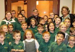 School Students with Bishop Schlert